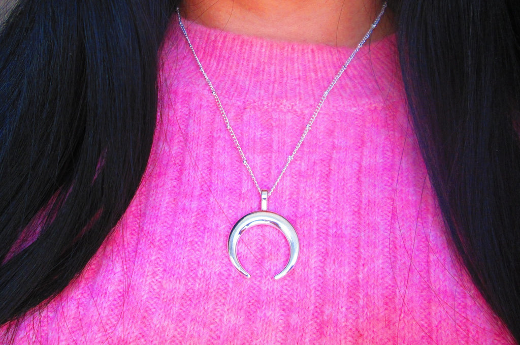 silver halfmoon necklace