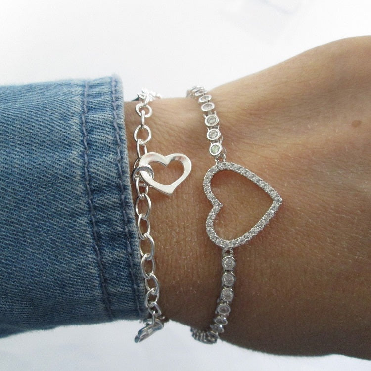 dangling heart bracelet in 925 sterling silver