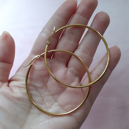 old english letter gold hoop earrings