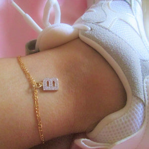 cute and sexy figaro anklet with letter