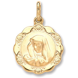9ct Yellow Gold Madonna Pendant - Sparkly Dolls