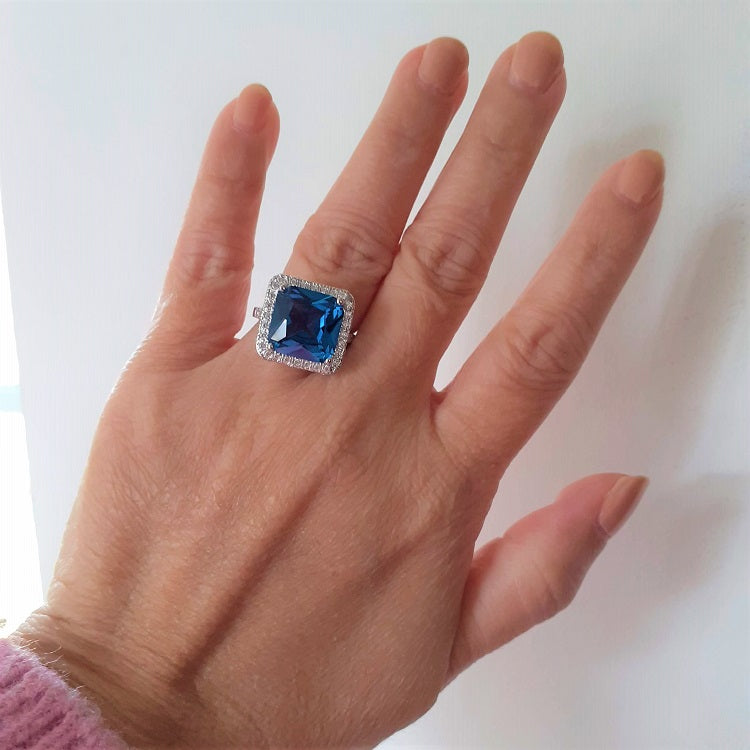 Ocean Blue Sterling Silver Ring - Sparkly Dolls