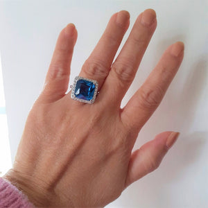 deep blue squared halo ring silver