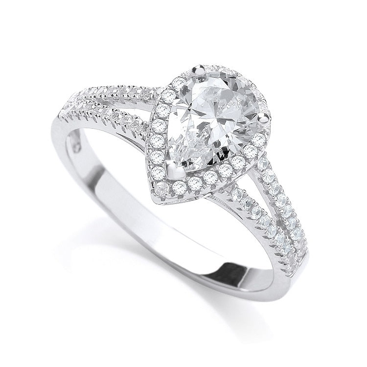 Pear Shaped Pave Sterling Silver Ring - Sparkly Dolls