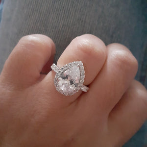 clear cz stone wedding ring silver