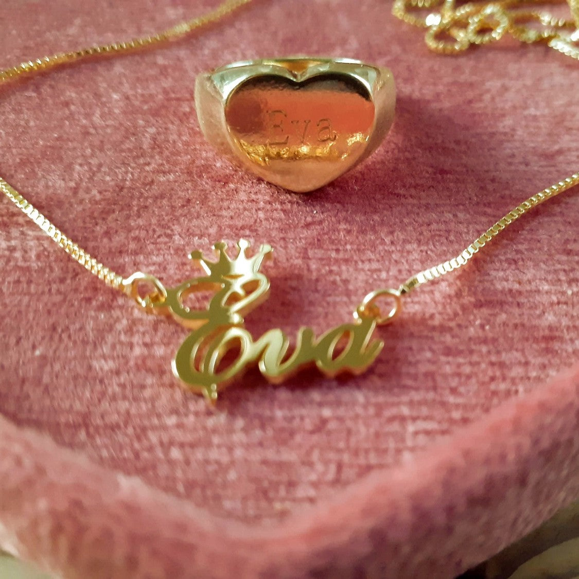 personalised name necklace and ring
