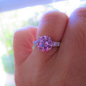 pink cz diamond solitaire ring silver
