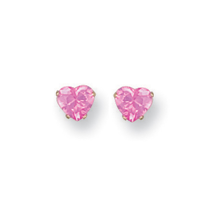 sugar pink heart cz stud earrings 9ct gold