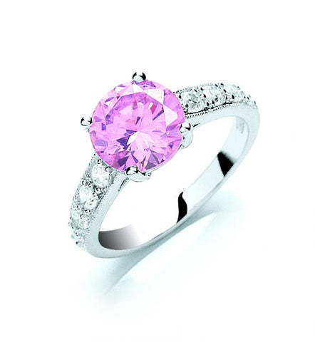 pink cz stone solitaire ring silver