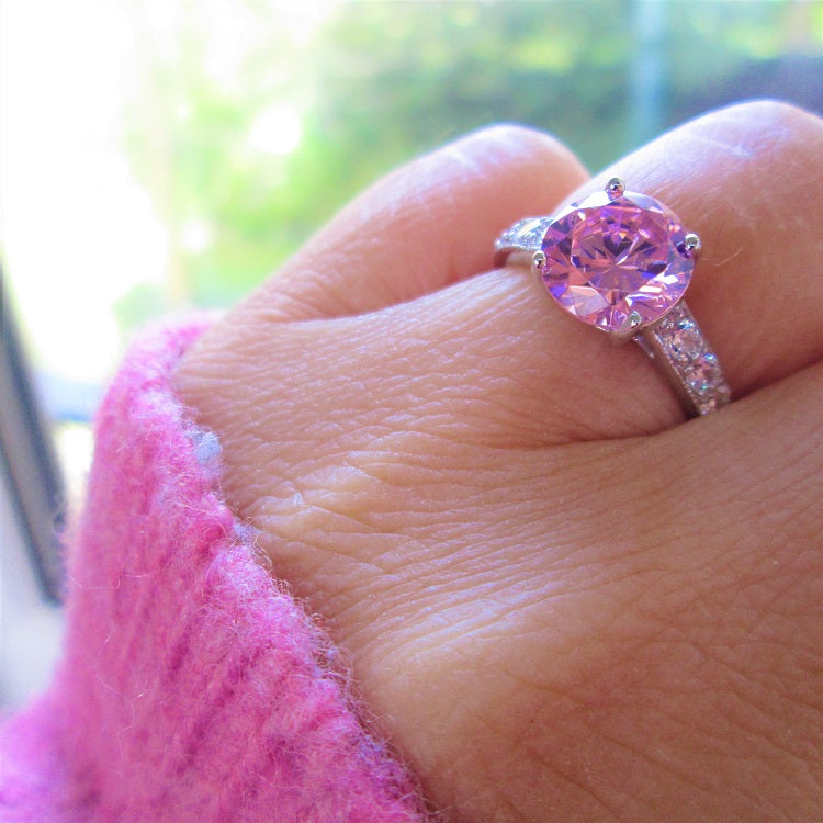 pink cz stone diamond solitaire ring sterling silver