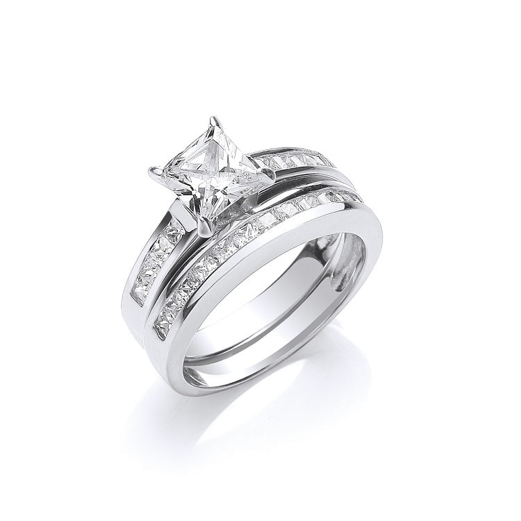 Princess Cut Sterling Silver Bridal Ring Set - Sparkly Dolls