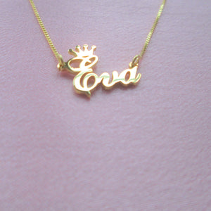 princess tiara nameplate necklace