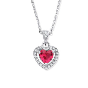 Red Cubic Zirconia Diamond Heart Necklace - Sparkly Dolls