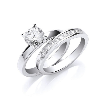 Happily Ever After Sterling Silver Bridal Ring Set - Sparkly Dolls
