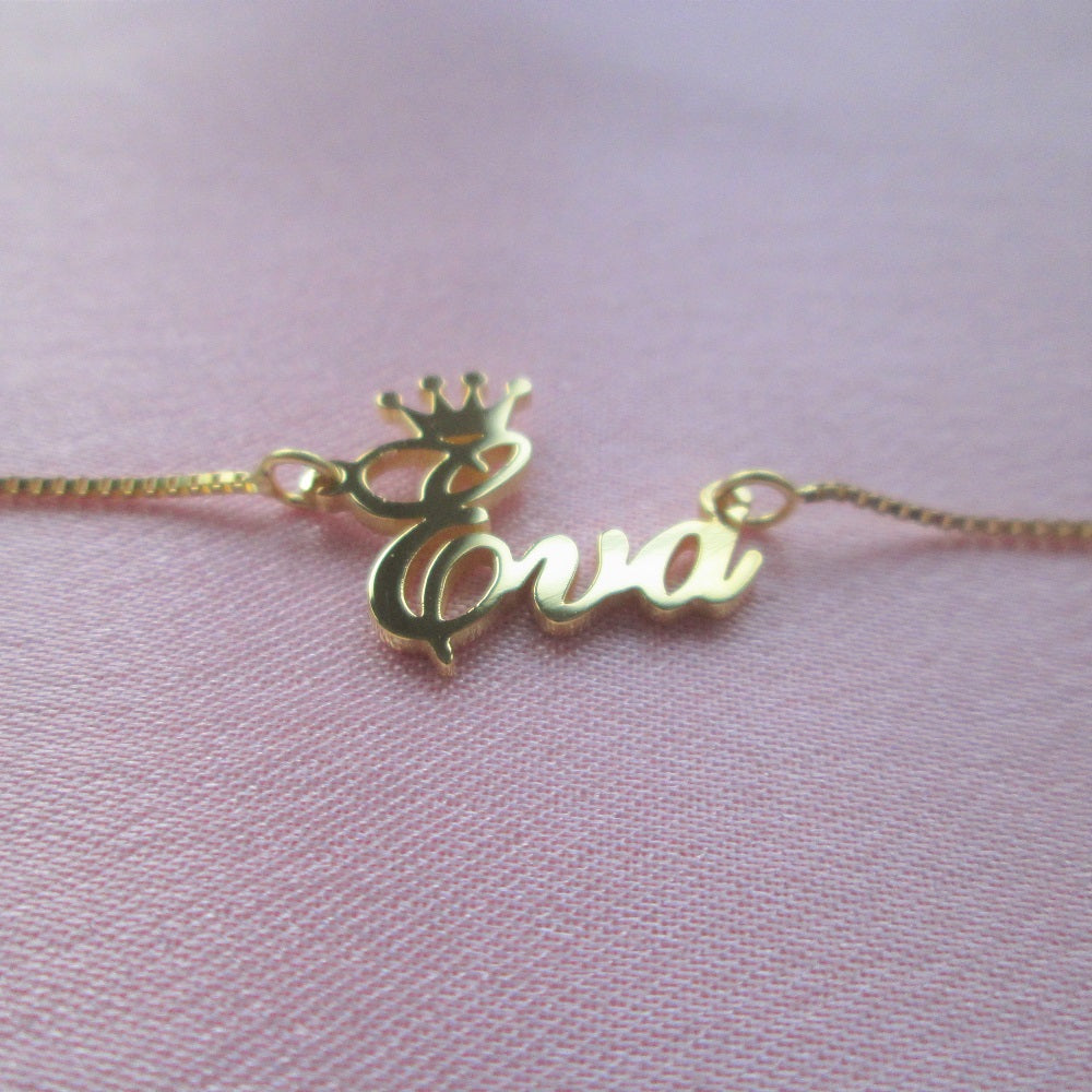 sterling silver royal crown personalised name necklace
