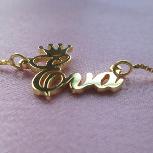 royal crown personalised name necklace