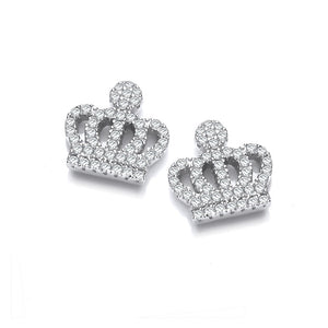 Cubic Zirconia Diamond Crown Studs in Sterling Silver - Sparkly Dolls