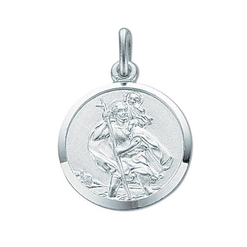 Medium Double Sided St Christopher Round Pendant Sterling Silver Necklace - Sparkly Dolls