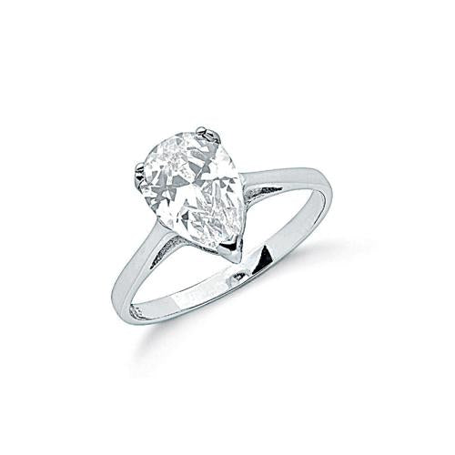 teardrop pear cz halo ring silver