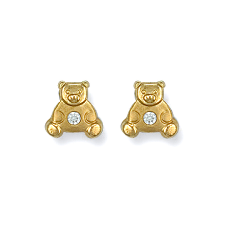 gold teddy studs with cz stones