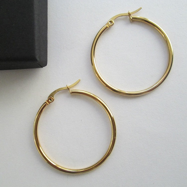 Small Gold Hoop Earrings 30mm - Sparkly Dolls