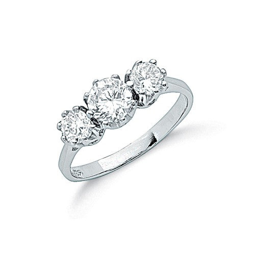 Round Stone Trilogy Engagement Ring - Sparkly Dolls