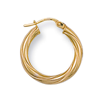 twisted hoop earrings 9k gold
