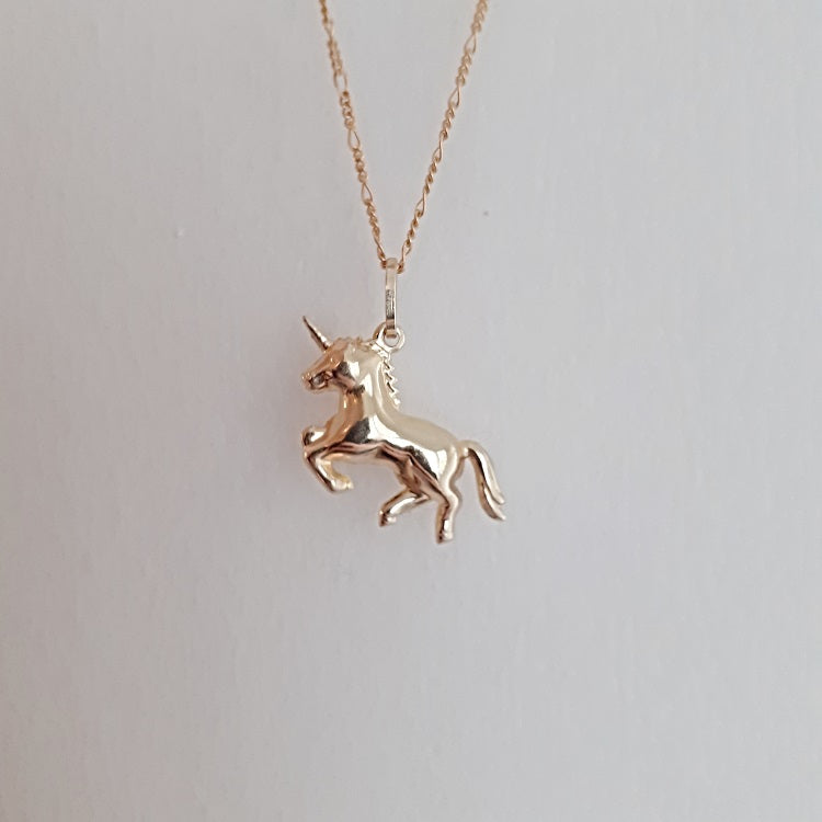 unicorn chunky necklace gold