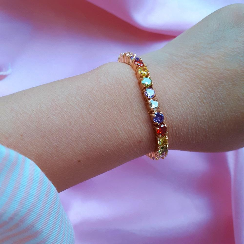 Rainbow Tennis Bracelet - Sparkly Dolls