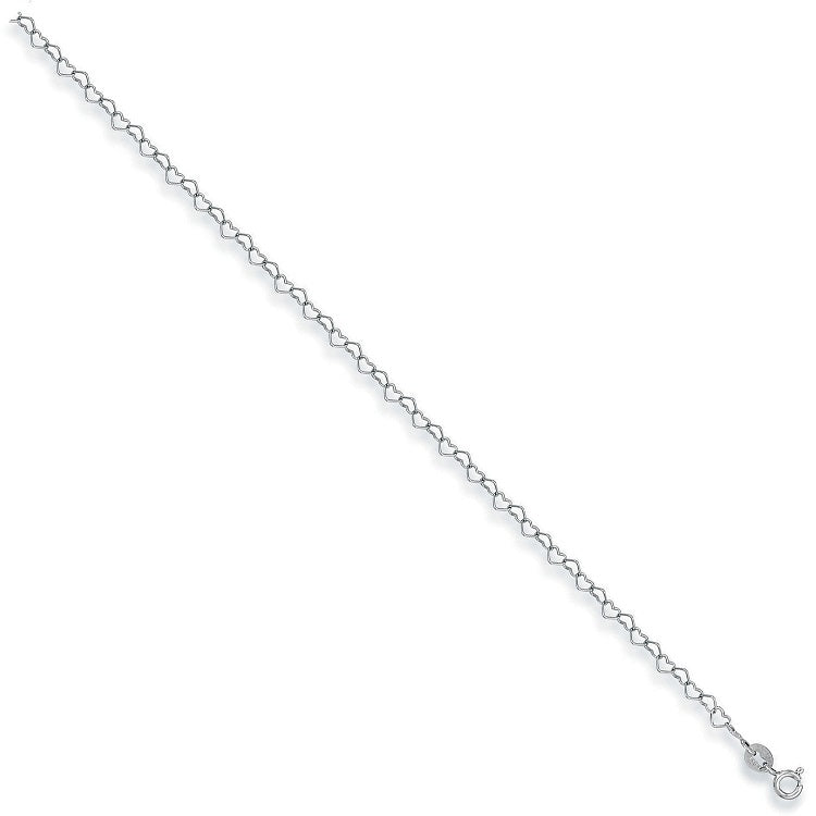 Heart Anklet in 9ct White Gold - Sparkly Dolls