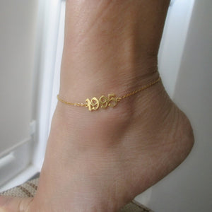 custom year anklet gold