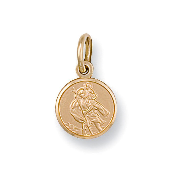 9ct Yellow Gold St Christopher Medium Round Pendant Necklace - Sparkly Dolls