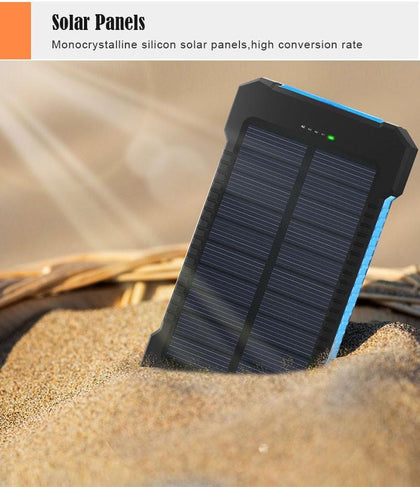 image of a solar power bank with dual usb jacks that comes in red, orange, yellow, green, blue, black, or white.