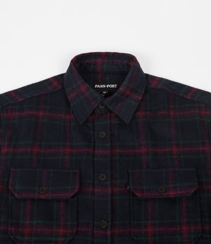 Workers Flannel Shirt - Navy/Red