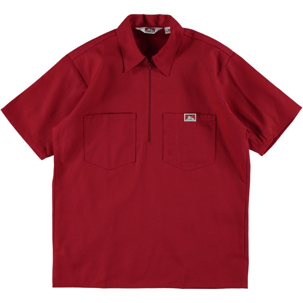 S/S Half-Zip Work Shirt - Red