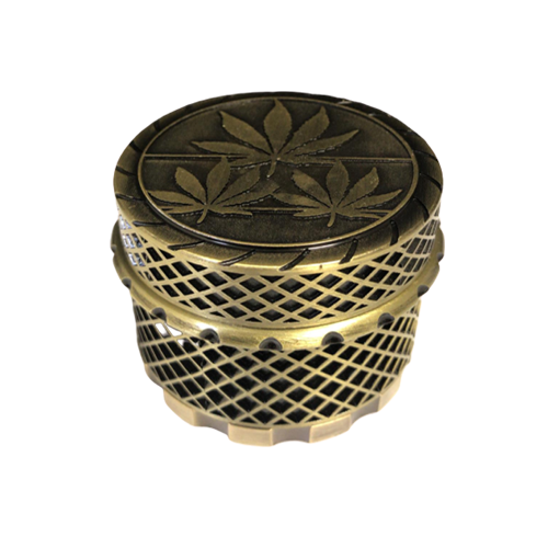 45mm Bronze Color Leaf Design Metal Grinder 4 Parts