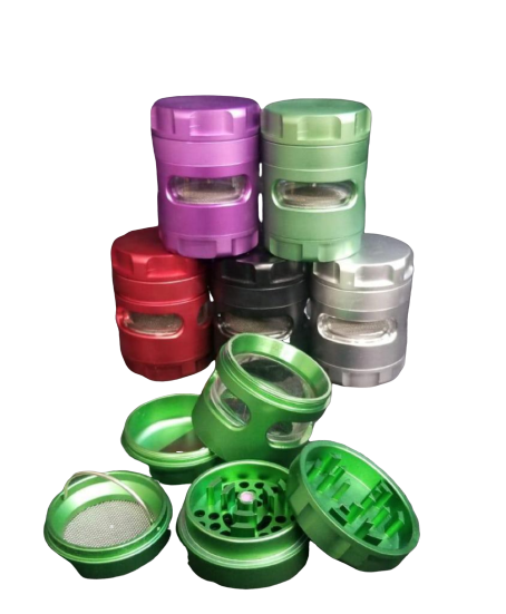 Aircraft Aluminum Herb Grinder 50 MM 5 Layers Herbal Grinder Tobacco Crusher Spice Crank Separated Window Hand Muller in assorted colors-Price Per Piece