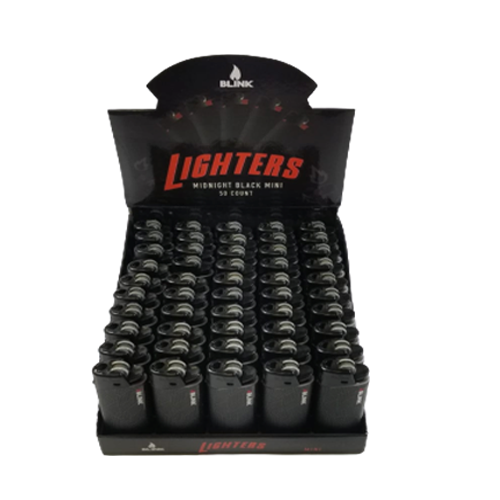 BLINK N-1 LIGHTER-MIDNIGHT SERIES BLACK MINI-50 COUNT PER DISPLAY