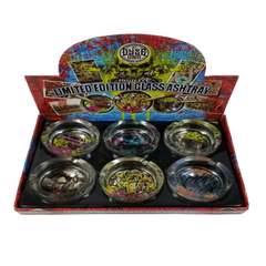 Dyse One Glass Ashtray Graffiti-Assorted Design-Price Per Piece