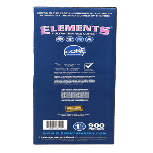 Elements 1 1/4 Rice Paper Pre-Rolled Cones -900 Pack in Box