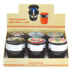LED Multi Design Ashtray-#70339-In Assorted Colors-6 Count Per Display-Price Per Piece