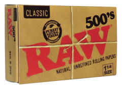 RAW 500's Classic Natural Unrefined Rolling Paper 1 1/4 79 mm - 20 pack per Box