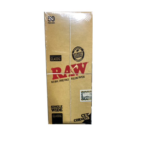 Raw Classic Natural Unrefined Rolling Papers With Cut Corners - Regular - Special Edition -50 leaves per pack, Pack of 50