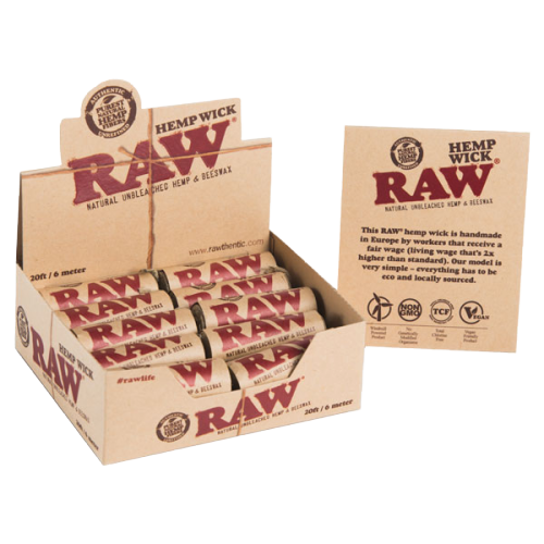 RAW HEMP WICK 10ft and 20ft European Edition in Pack of 40 and 20 Rolls per Box respectively