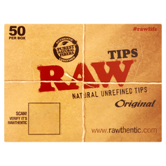 RAW NATURAL UNREFINED TIPS -50 PACK PER BOX