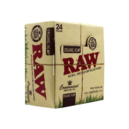 Raw Classic/Organic Hemp Connoisseur King Size Slim with Tips Rolling Paper - 24 Packs in Box