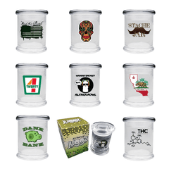 ALL NATURAL JUGGZ GLASS JAR A CUP , B CUP & C CUP JAR STACHE JAR - ASSORTED DESIGN-Glass Jars-fourseasons-trade
