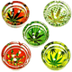 Ashtray Leaf Design Round Glass- 6 Piece Assorted Design - Price Of Each