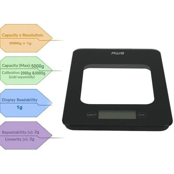 AWS CAMEO-5K Tempered Glass Platform Kitchen Scale, Black Glass, 11lb x 0.1oz-SCALES-fourseasons-trade