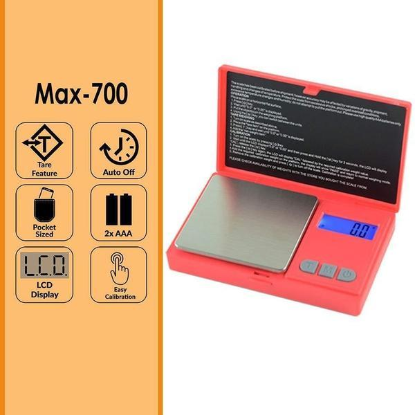 AWS MAX-700 DIGITAL POCKET SCALE 700 x 0.1g - RED COLOR-SCALES-fourseasons-trade